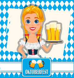 Oktoberfest on abstract background sexy redhead vector