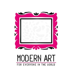 Pink and black color rectangular frame in vector