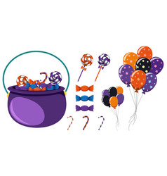 Pot of candy and colorful balloons for halloween vector