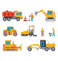 Road under construction flat icons set vector