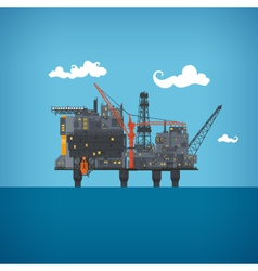 Sea oil platform vector image