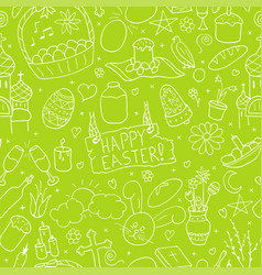 seamless happy easter pattern in doodle style vector image vector image