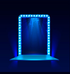 show light podium blue background vector image vector image