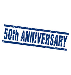 Square grunge blue 50th anniversary stamp vector