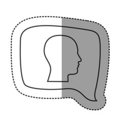 sticker monochrome of rectangular speech with vector image