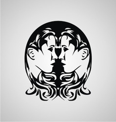 Tribal gemini sign vector