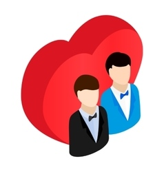 Two male and red heart isometric 3d icon vector image