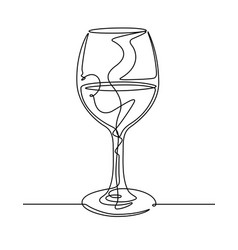 wine glass continuous line vector image