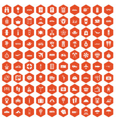 100 travel time icons hexagon orange vector