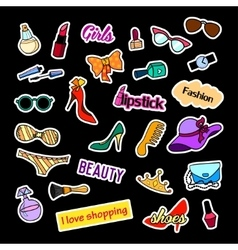 Patch badges fashion set stickers pins patches vector