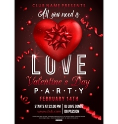Valentines party flyer design with red heart bow vector