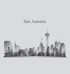 san antonio city skyline silhouette in grayscale vector image