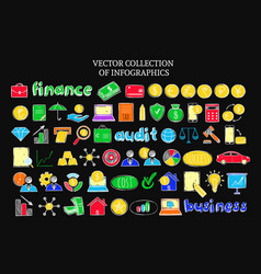 Colorful infographic financial sketch icons set vector