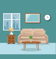 living room sofa table potplant clock lamp mirrow vector image