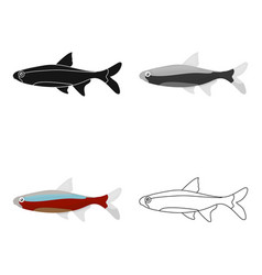 neon fish icon cartoon singe aquarium fish icon vector image