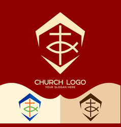 cross and fish vector image