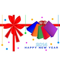 New year gift card of shopping bags vector