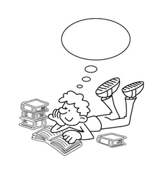 Cartoon Boy Reading vector image