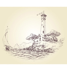 Lighthouse drawing seascape and sailboat at sea vector