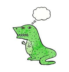 Cartoon dinosaur with thought bubble vector