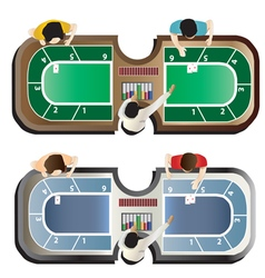 Casino furniture baccarat table top view set 4 vector