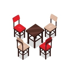 Chair and table isometric design vector