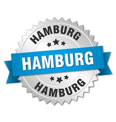 Hamburg round silver badge with blue ribbon vector