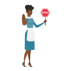 African cleaner holding stop road sign vector