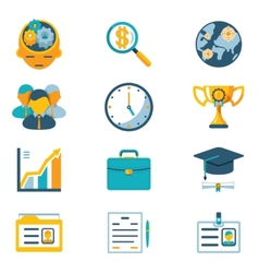 Assorted colored business icons vector