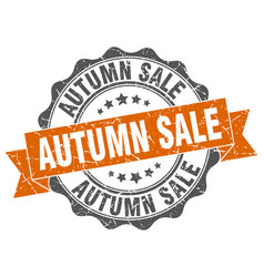 Autumn sale stamp sign seal vector