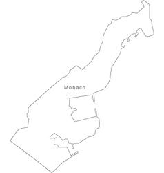 Black White Monaco Outline Map vector image