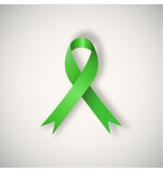 Breast cancer awareness green ribbon vector image vector image