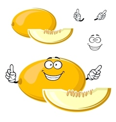 Cartoon yellow melon fruit with slice vector
