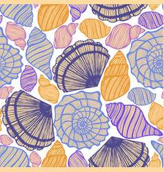Colored background with seashells vector