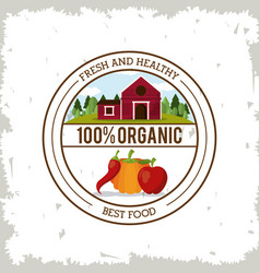 Colorful logo of fresh and healthy organic food vector