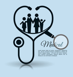 family stethoscope medical equipment vector image