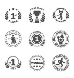 First place icons set vector