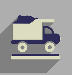 Flat web icon with long shadow garbage truck vector