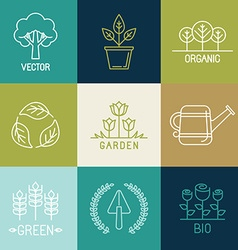 gardening logo design elements vector image