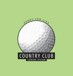 golf ball on a green background vector image vector image