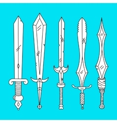 hand drown set of swords vector image