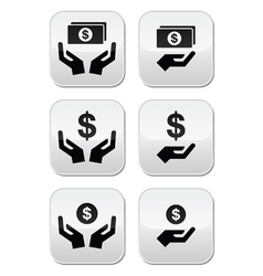 Hands with dollar banknote coin icons set vector image