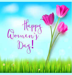 happy women day greetings card pink tulips on vector image vector image