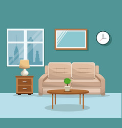 living room sofa table potplant clock lamp mirrow vector image vector image