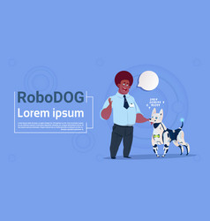 Man playing with robotic dog cute domestic animal vector