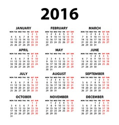 Modern and simple calendar 2016 with moon phases vector
