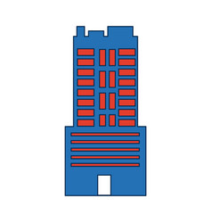 Modern cityscape many storeyed building on white vector