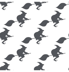 Monochrome pattern witch on a broomstick vector