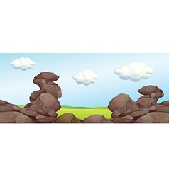 Nature scene with rocks and field vector