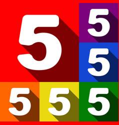 Number 5 sign design template element set vector